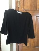 Womens St. John  Black  Knit Blouse Career Top Shirt 3/4 Sleeves 10 - $43.41