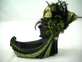 Face Jeweled Green High Heel Shoe Jewelry Ring Holder  - $24.95