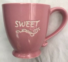Starbuck Pink And White Sweet Spellout 15oz Footed Mug 2006 - $26.86