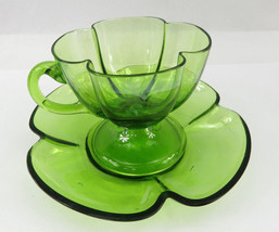 Vintage Depression Green Glass Tea Cup & Saucer Scalloped unusual Flower - $35.00