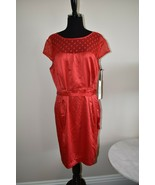 NWT Kate Young For Target Red Satiny Cocktail Belted Dress Size 16 - $23.95