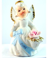 Vintage Lefton June birthday angel girl one ros... - $26.00