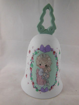 Vtg 1992 Precious Moments Bell Love is the Best Gift  Christmas Child w ... - $8.90