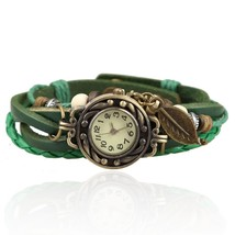 Vintage Bracelet Wrist Watch with Weave Wrap Leather Band Leaf Beads for Women F - $13.87
