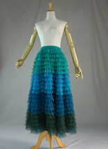 Multi-Color Tiered Tulle Skirt A-line Layered Tulle Midi Skirt Party Outfit image 1