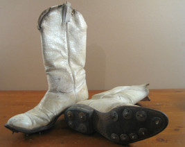 Vintage Cowboy Boots Golf Cleats Clown Tony Lama White Display Worn Used... - $48.21