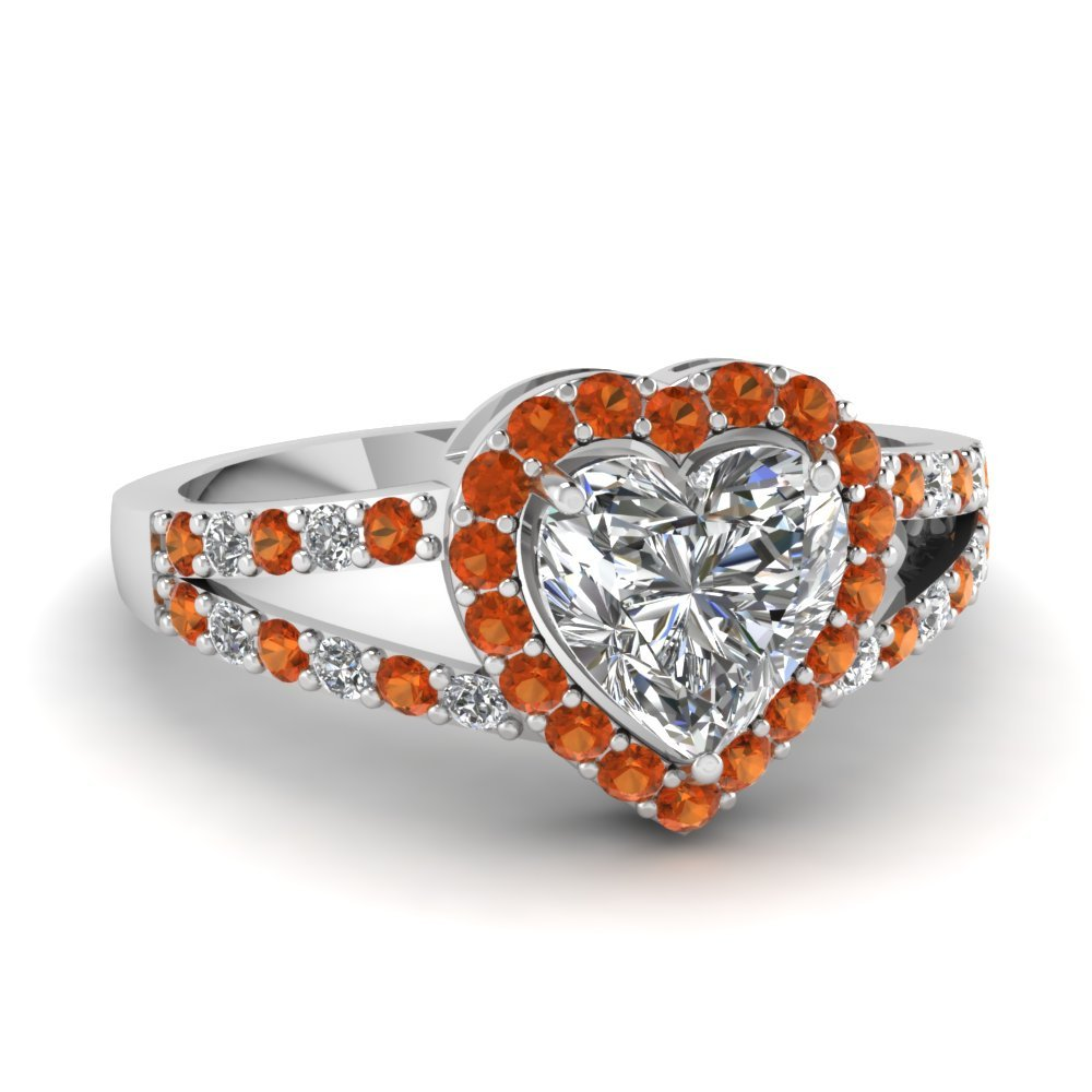 Primary image for Lovely Orange Sapphire & CZ Diamond 14K White Gold FN 925 Siver Halo Heart  Ring