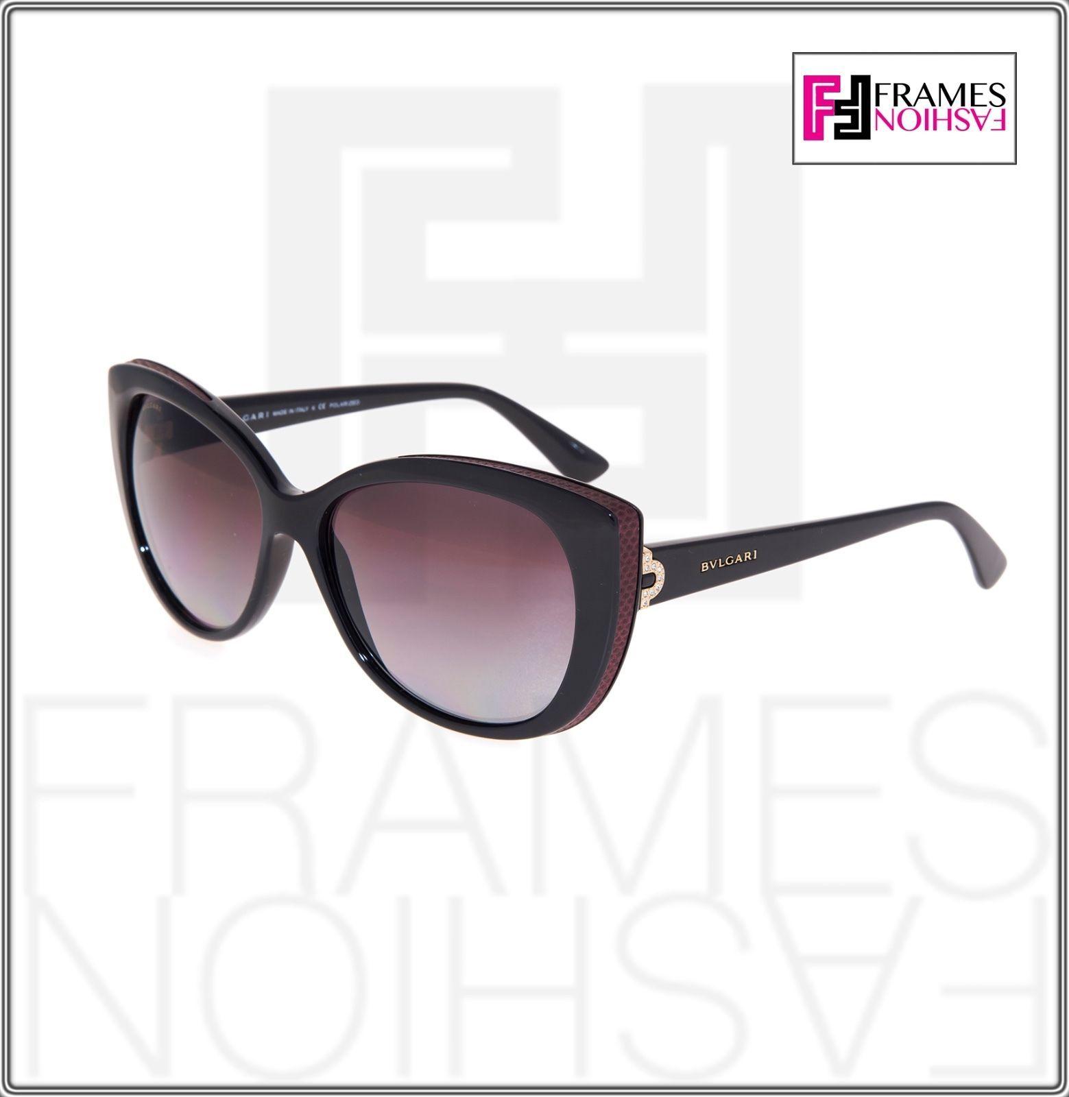 BVLGARI LOGO BV8157BQ Black Burgundy Leather Violet POLARIZED Sunglasses 8157 image 7
