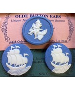 Heirloom Button Earrings & Pin Set Cameo Blue & White New Orleans Jewelry - $14.99