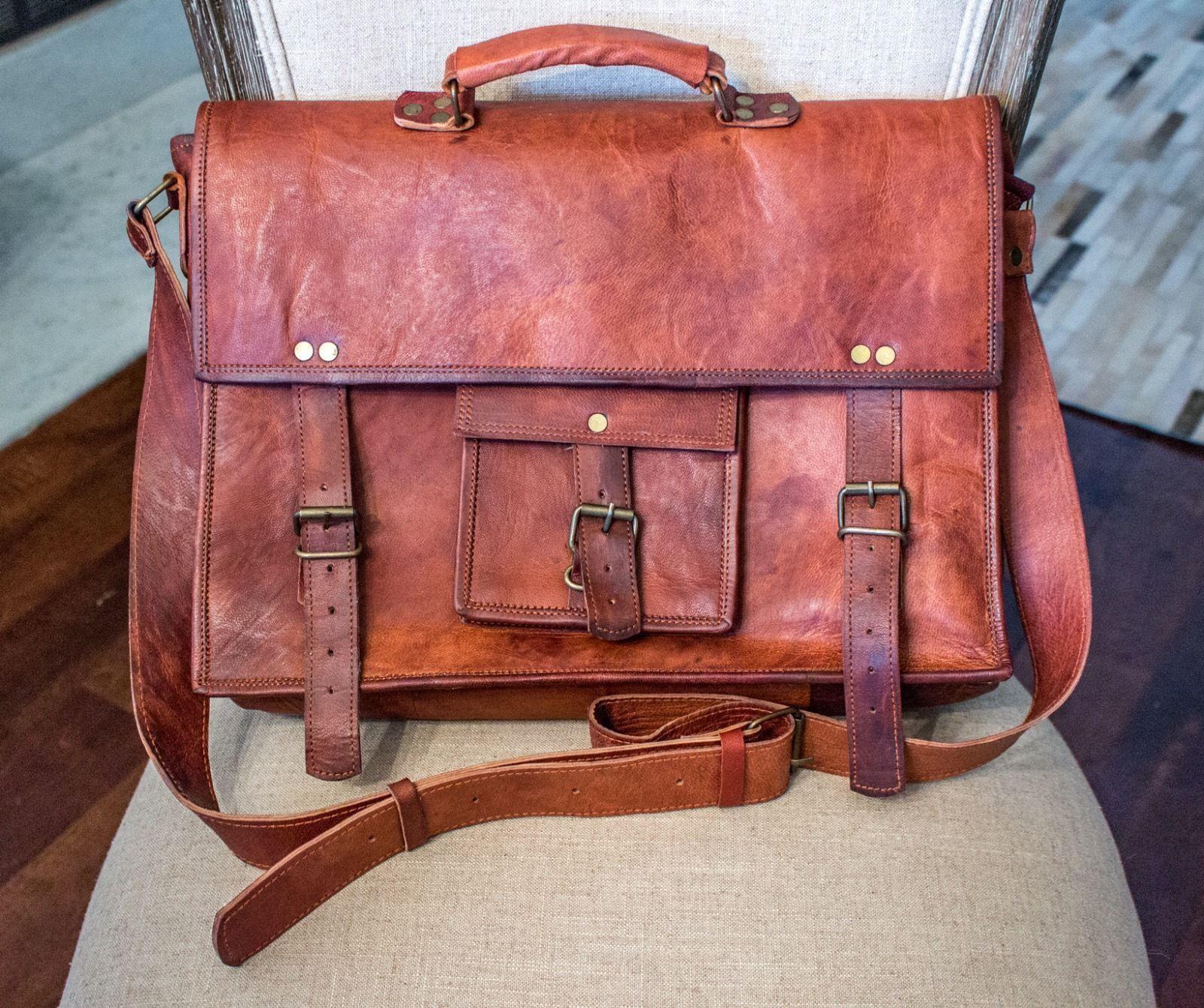 Real Handmade Brown Vintage Leather Messenger Bag Briefcase Shoulder Briefcase