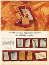 Vintage 1969 Magazine Ad For Zippo Lighter 14K Solid Gold Zippo And Sheaffer Pen - $5.93