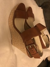 Michael Kors Tan Leather Espadrille Wedge Sandals Sz. 9 - $46.39