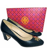 Tory Burch Raleigh Navy Blue Leather Pumps Gold Logo Shoes  10.5 - $179.00