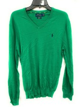 Men's Polo Ralph Lauren Cotton V-Neck Sweater Green with Navy Slim Fit M... - $39.59