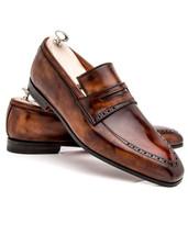 Handmade Men's Brown Slip Ons Loafer Shoes image 1
