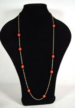 """J Crew Necklace Bright Coral Bauble Beaded Gold Chain Link 34"""" - $19.80"""