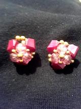 Stunning Vintage Estate Burgundy Cluster Beads Clip On Earrings - $3.00