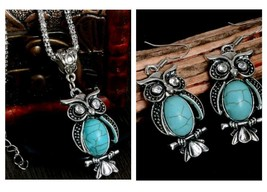 Turquoise Owl Necklace and Earrings 2 Piece Set, Antique Silver Vintage ... - $7.69