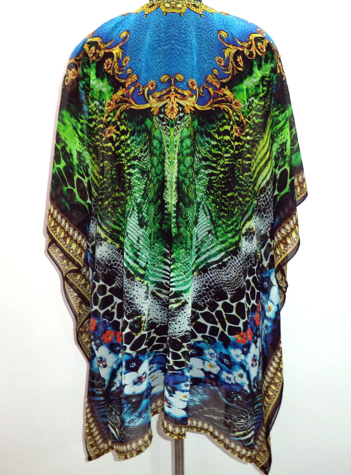 d1942df608 Digital Print Georgette Kaftan, Embellished Sheer Caftan, Free Size Tunic