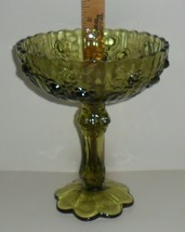 """Fenton Cabbage Rose Compote Colonial Green Pedestal Candy Dish Signed 7.5""""  - $16.00"""