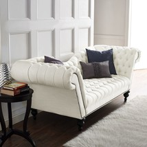 Horchow Cream Linen Recamier Replica Victorian Tufted Nailhead Curved So... - $1,379.07