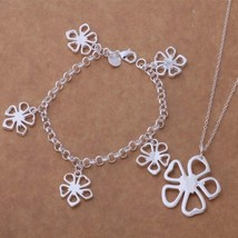 New 5 Petal Flower Necklace and Bracelet Set 925 Sterling Silver FREE 1-DAY SHIP - $12.30