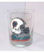 NFL Miami Dolphins Barware Metal Helmet Logo Emblem Glass 1997-2012 Tumbler - $19.75