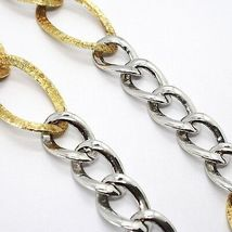 Silver 925 Necklace, Chain Grumetta Oval, White & Yellow Alternating, Curb image 4