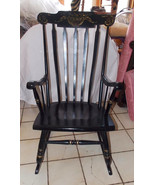 Black Lacquer Hand Painted Rocker / Rocking Chair by Tell City  (R73) - $399.00