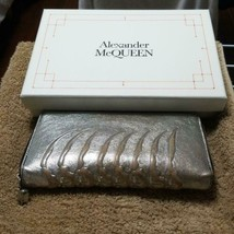 Alexander McQueen Authentic Silver color Long Wallet Used - $337.99