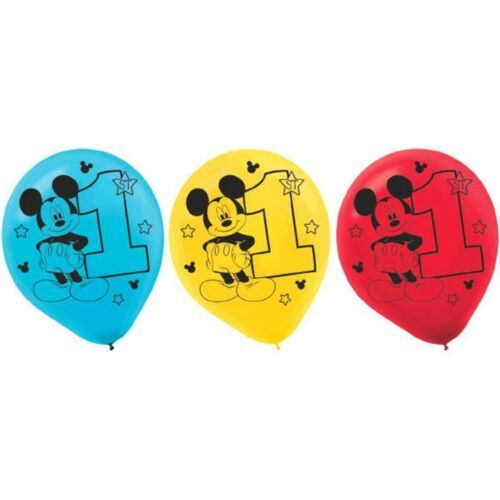 """Mickey Fun To Be One Birthday Party Latex 12"""" Balloons 15 Ct"""