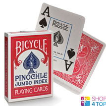 BICYCLE PINOCHLE PLAYING CARDS DECK MADE IN USA RED JUMBO INDEX USPCC NEW - $5.43