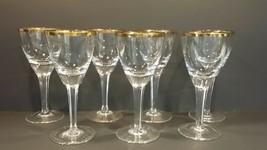 "Gold Trim Crystal Goblet Wine Glass 6.25"" high, plain bowl & base, panel... - $80.00"
