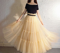 YELLOW Tiered Long Tulle Skirt Outfit High Waist Plus Size Princess Party Outfit image 10