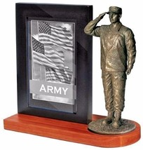 United States Army Bronze Cast Resin Statue With Black Base Photo Frame  - $49.49