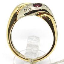 18K YELLOW WHITE GOLD BAND DOUBLE RING, BRAIDED SNAKE, DIAMONDS, RUBY & EMERALD image 3