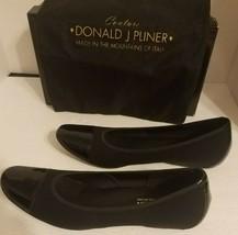 Donald J Pliner Womens Round Toe Flats Black Stretch Fit Leather Trim Si... - $25.22