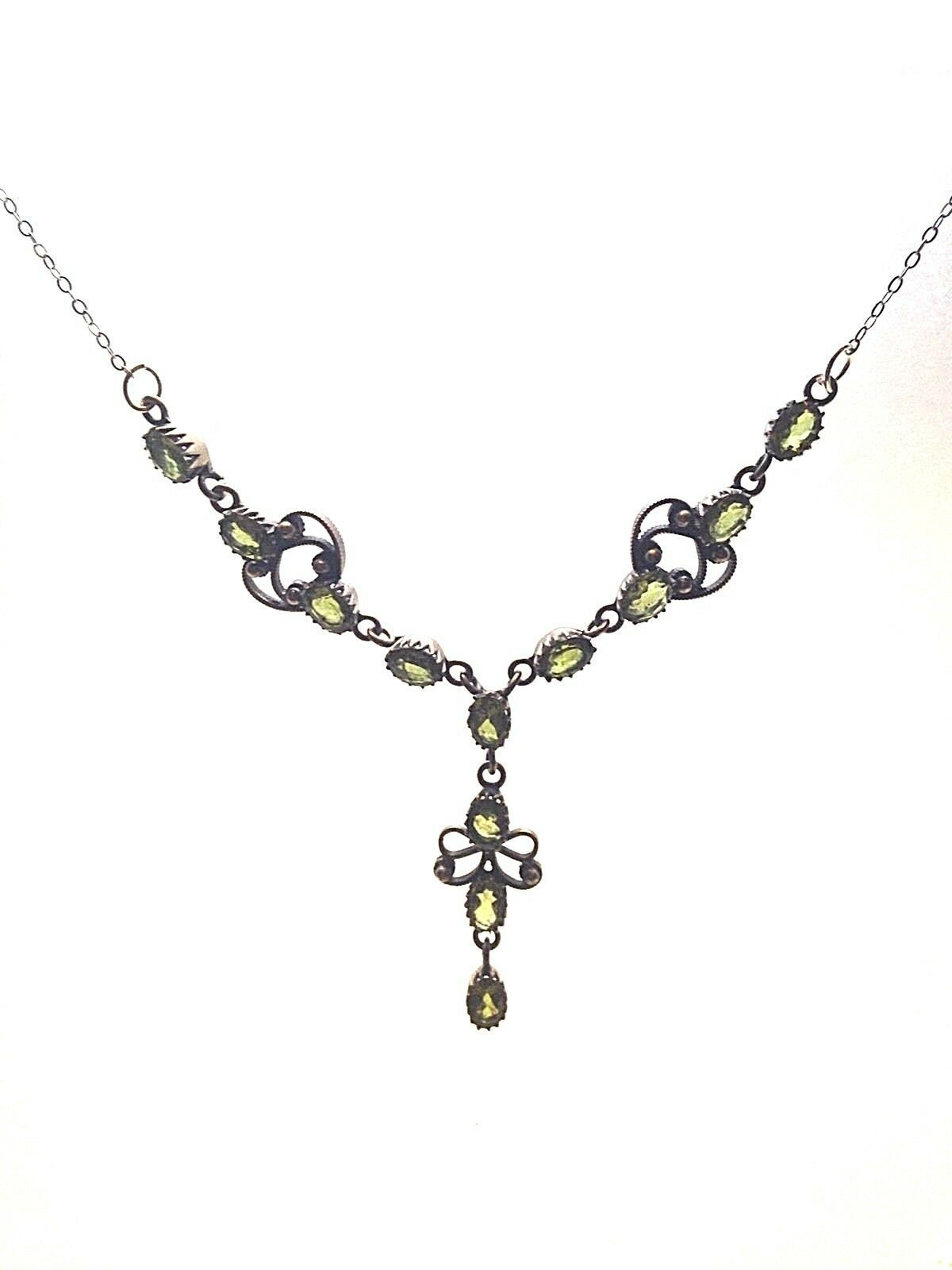 Vintage 925 Sterling Silver Genuine Green Peridot Y Choker Necklace