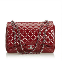 Pre-loved Chanel Red Patent Leather Classic Maxi Double Flap Bag France - $2,885.19