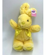 NWT Walmart Solid Yellow Easter Bunny Rabbit Plush Stuffed Animal Satin Bow - $19.99