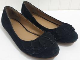 LANDS END Black Bal Flats Ladies 6M Suede Leather Slip On Loafers Ruffle Toe - $17.89