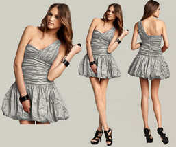 $388 BCBG Maxazria One Shoulder Crinkled Silver Pewter Stretch Taffeta Dress - $76.50