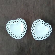 Heart Shaped Trinket Dishes, White Milk Glass Trinket Holders - $10.00