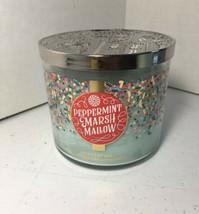 Bath & Body Works PEPPERMINT MARSHMALLOW 3 Wick Candle - 14.5 Oz - $14.85