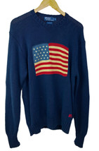 Vintage 1990's Polo Ralph Lauren American Flag USA Cotton Knit Sweater Sz L - $121.25
