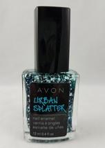Avon Urban Splatter Blue Vandalism Nail Polish Glitter Lacquer Discontinued - $10.99