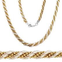 Plata de Ley 925 14k Oro Amarillo Tela Girada Cuenta Cadena de Eslabones... - £134.09 GBP
