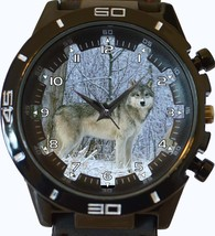 Arctic White Wolf Trendy Sports Style Unisex Gift Watch - $34.99