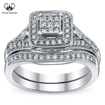 Solitaire With Accents Bridal Ring Set Round Cut CZ White Gold Plated 925 Silver - $92.99