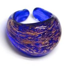 Ring Antica Murrina, Murano Glass, Blue, Glitter Orange, Convex, Band image 1